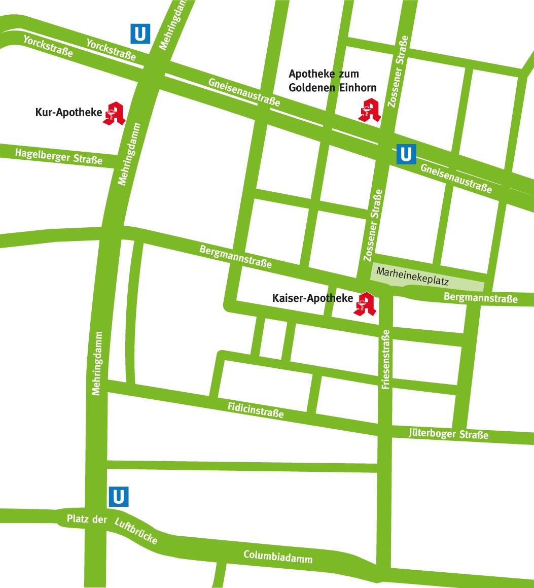 Straßenkarte Kaiser-Apotheken-Verbund Berlin, Kreuzberg 61